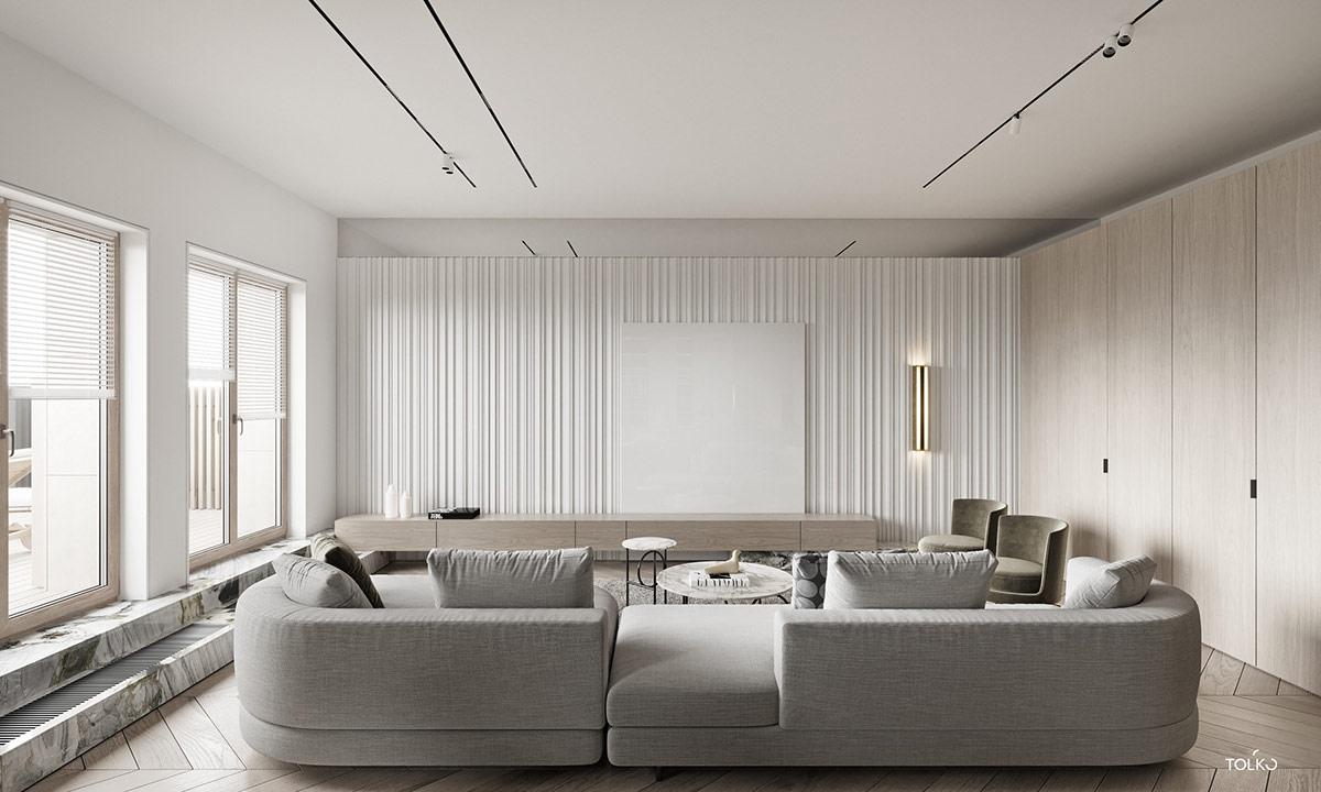 Phòng khách độc đáo cho biệt thự hiện đại